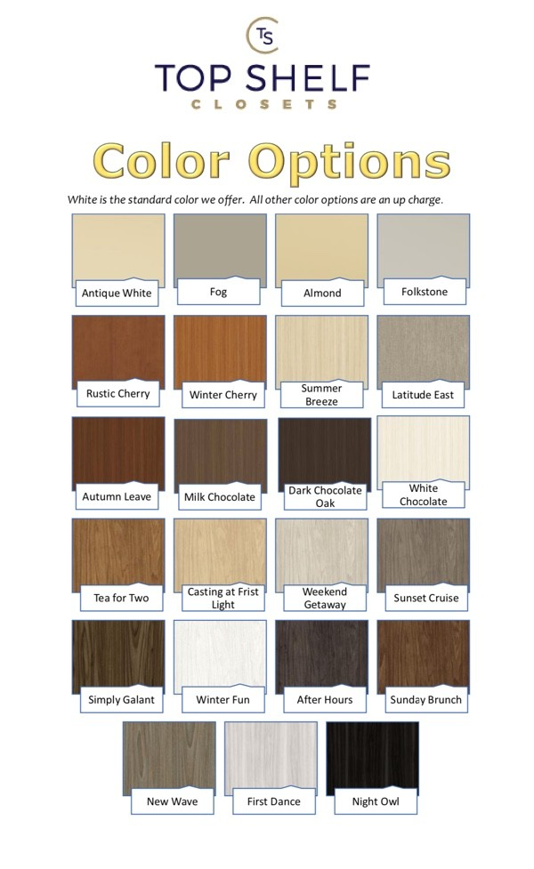 Top Shelf Color Options
