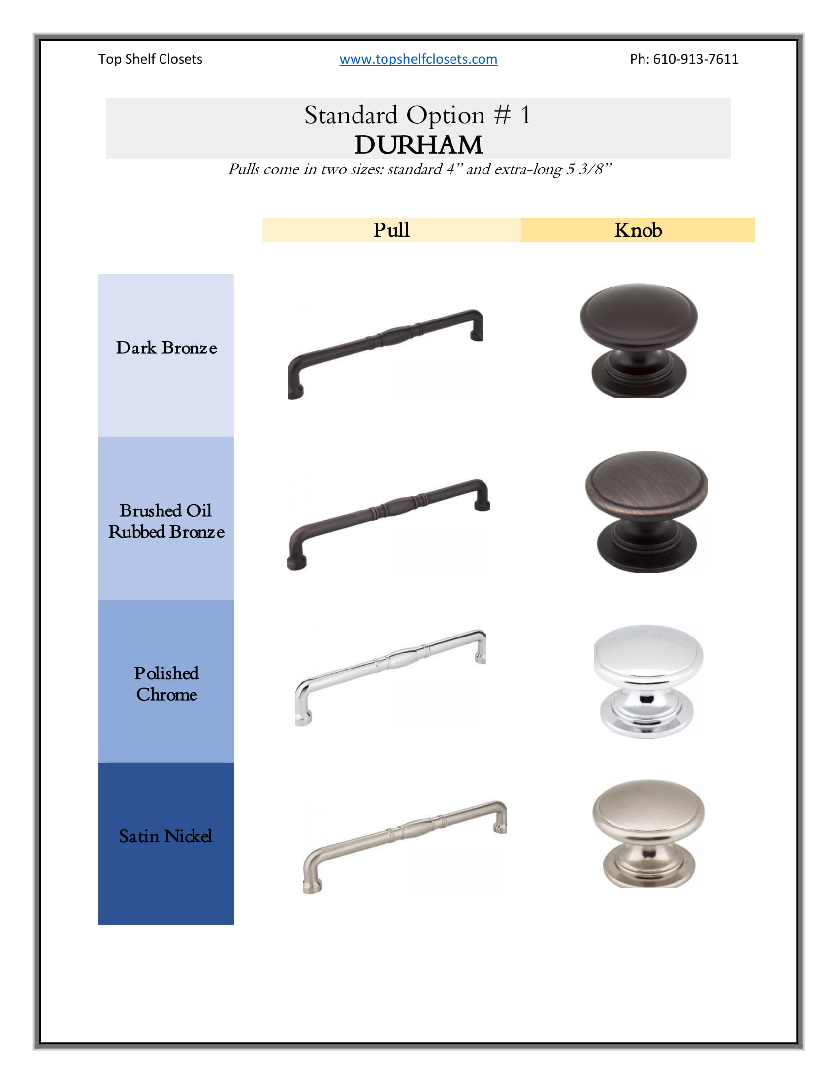 Pull & Knob | Top Shelf Closets